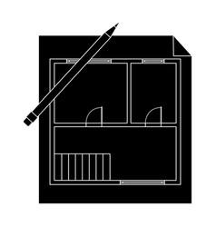 house planrealtor single icon in black style vector image vector image