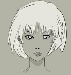 manga anime pretty character face vector image