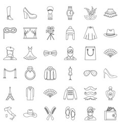model icons set outline style vector image vector image