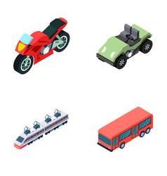 motorcycle golf cart train bus transport set vector image