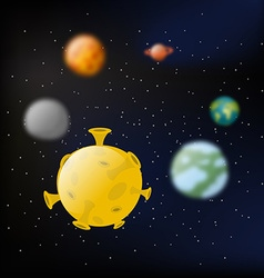 Planets of solar system Moon and Jupiter Mars and vector image vector image