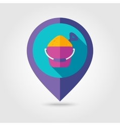Sand bucket and shovel flat mapping pin icon vector