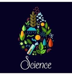 Science emblem in shape of water drop vector image vector image