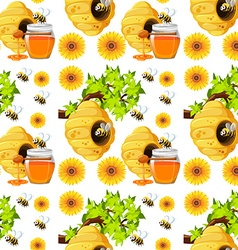 Seamless background with bees and beehives vector image
