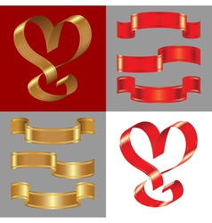 shiny gold and red ribbons vector image