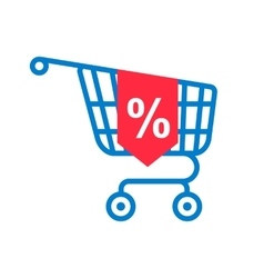 shopping cart with percentage discount vector image vector image
