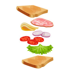Toasted loaf of bread with lettuce salad fresh vector