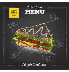 Vintage chalk drawing fast food menu Sandwich vector image vector image