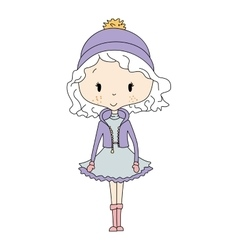 Winter girl doll vector image