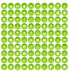 100 clock icons set green circle vector