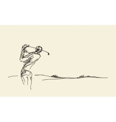 Sketch man hitting golf ball vector
