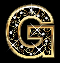 G gold letter with swirly ornaments vector