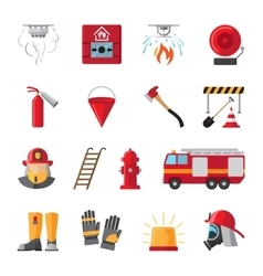 Firefighting equipment flat icons vector