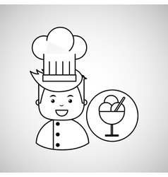 Cartoon chef gourmet tasty ice cream vector