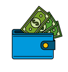 blue wallet with green dolars bills inside vector image