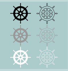 Ships wheel black grey white colour icon vector