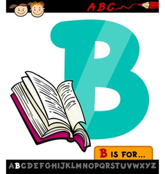 letter b with book cartoon vector image