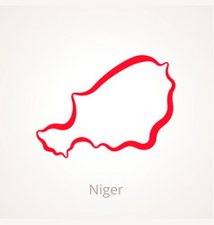 Outline map of niger marked with red line vector