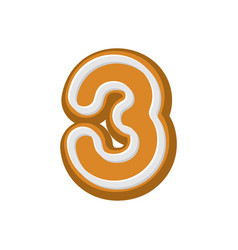 Number 3 gingerbread font peppermint honey-cake vector