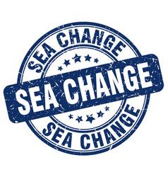 Sea change blue grunge stamp vector