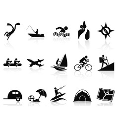 Summer activities icons set vector