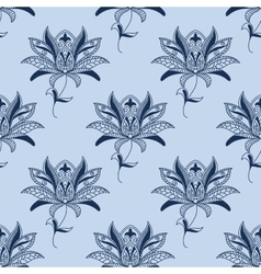Blue paisley floral pattern vector image