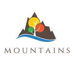 Mountains and tree vector