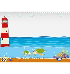 Ocean scene with lighthouse and animals vector