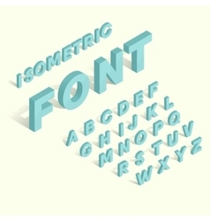 Isometric blue alphabet font vector