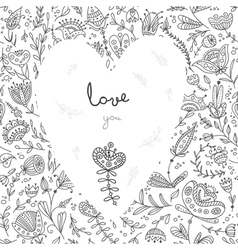Love you white heart on floral background card vector