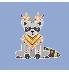 Raccoon wearing tribal clothing vector