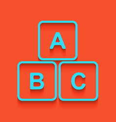 Abc cube sign whitish icon vector