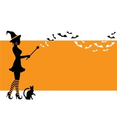 Background with a witch for Halloween vector image vector image
