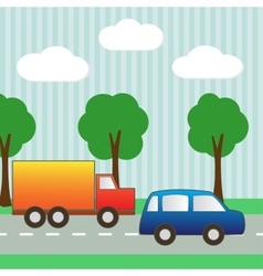 Background with car and truck for scrapbook vector