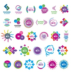 biggest collection of logos Wi fi vector image