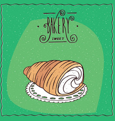 Bread roll known as torpedo dessert vector