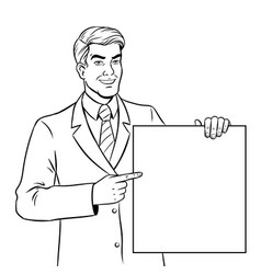 businessman holds poster coloring book vector image vector image