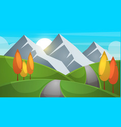 Cartoon landscape mountain firr cloud sun vector