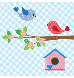 Couple of birds and birdhouse vector image vector image