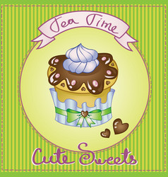 Cute cake card vector