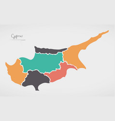 Cyprus map with states and modern round shapes vector