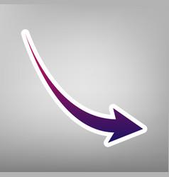 declining arrow sign purple gradient icon vector image vector image