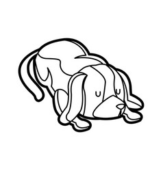 Dog pet animal sleeping image outline vector