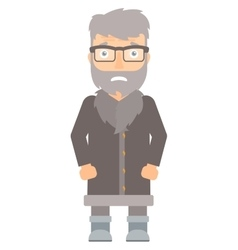 Embarrassed hipster north man vector