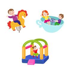 Flat children at amusement park set vector