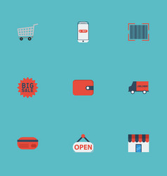 flat icons big sale purse bus and other vector image