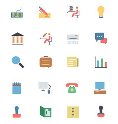 Flat office icons 3 vector