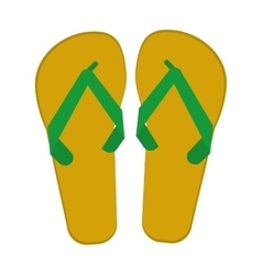 Green and yellow flip flop brasilian vector
