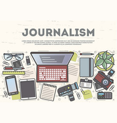 Journalism top view banner in line art style vector