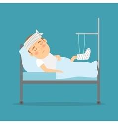 Man with broken leg cartoon vector